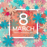 Abstract Colorful Floral Greeting card - International Happy Women's Day - 8 March holiday background Stock Images