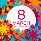 Abstract Colorful Floral Greeting card - International Happy Women's Day - 8 March holiday background. With paper cut Frame Flowers. Happy Mother's Day. Happy Stock Photos