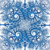 Abstract colorful floral ornament on white background. Symmetrical pattern in bright blue color. Fantasy fractal design for postcards, wallpapers or clothes Royalty Free Stock Photos