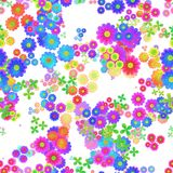 Abstract colorful floral pattern, Multicolor flowers, Blooms in rainbow colors, Texture background, Seamless illustration Stock Photos
