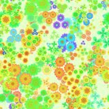 Abstract colorful floral pattern, Multicolor flowers, Green, yellow, orange and blue blooms, Seamless texture background Stock Images