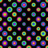 Abstract colorful floral pattern. Multicolor flowers isolated on black background.  Royalty Free Stock Photography