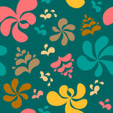 Abstract colorful floral seamless pattern on green background. Stock Photography