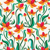 Abstract colorful floral seamless pattern. Vector decorative flo Stock Photos