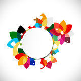 Abstract colorful floral shape concept and blank circle for text Royalty Free Stock Photography