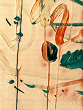 Abstract colorful flower acrilic painting. Abstract colorful acrilic painting for collage and design Royalty Free Stock Photo