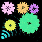 Abstract colorful flower on  black background Stock Photography