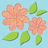 Abstract colorful flower on blue background Royalty Free Stock Photo