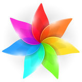 Abstract colorful flower bud. With rainbow colored petals  on white background Royalty Free Stock Images