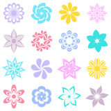 Abstract colorful flower icons Stock Photos