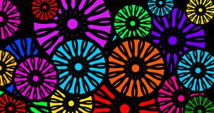Abstract and colorful flower shapes animate footage clip