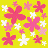 Abstract colorful flower on yellow background Royalty Free Stock Images