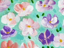 Abstract colorful flowers, hand painted background. Abstract colorful flowers, fragment of acrylic painting on canvas. Creative abstract hand painted background Stock Photo
