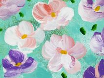 Abstract colorful flowers, hand painted background. Abstract colorful flowers, fragment of acrylic painting on canvas. Creative abstract hand painted background Royalty Free Stock Images