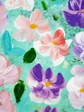 Abstract colorful flowers, hand painted background. Abstract colorful flowers, fragment of acrylic painting on canvas. Creative abstract hand painted background Stock Photography