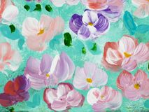 Abstract colorful flowers, hand painted background. Abstract colorful flowers, fragment of acrylic painting on canvas. Creative abstract hand painted background Stock Images