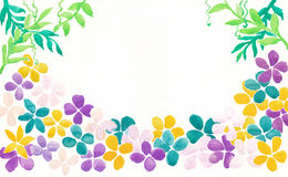 Abstract colorful flowers and green leaves on white background; watercolor painting decoration art Royalty Free Stock Photos