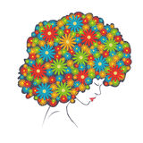 Abstract colorful flowers hair - Illustration Royalty Free Stock Images