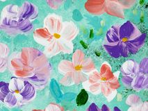 Abstract colorful flowers, hand painted background. Abstract colorful flowers, fragment of acrylic painting on canvas. Creative abstract hand painted background Royalty Free Stock Photos