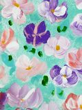 Abstract colorful flowers, hand painted background. Abstract colorful flowers, fragment of acrylic painting on canvas. Creative abstract hand painted background Royalty Free Stock Image