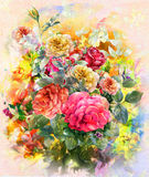 Abstract colorful flowers rose watercolor painting. Spring multicolored in  nature. Royalty Free Stock Photo