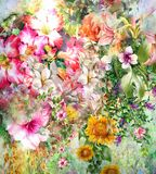 Abstract colorful flowers watercolor painting. Spring multicolored in Stock Photo