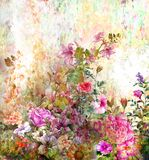 Abstract colorful flowers watercolor painting. Spring multicolored in Royalty Free Stock Images