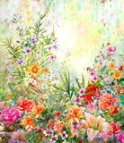 Abstract colorful flowers watercolor painting. Spring. Multicolored in Stock Image