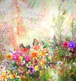 Abstract colorful flowers watercolor painting. Spring. Multicolored in Stock Photo