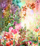 Abstract colorful flowers watercolor painting. Spring multicolore. D in Royalty Free Stock Photo