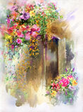 Abstract colorful flowers watercolor painting. Spring multicolored in  nature. Royalty Free Stock Image