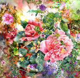 Abstract colorful flowers watercolor painting. Spring multicolored in  nature. Abstract colorful flowers watercolor painting. Spring multicolored in Royalty Free Stock Photo