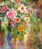 Abstract colorful flowers watercolor painting. Spring multicolored in  nature. Stock Photography