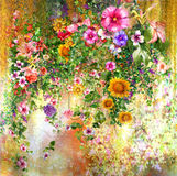 Abstract colorful flowers watercolor painting. Spring multicolored in  nature. Abstract colorful flowers watercolor painting. Spring multicolored in Royalty Free Stock Photography