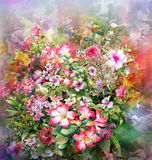 Abstract colorful flowers watercolor painting. Spring multicolored in  nature. Royalty Free Stock Photo