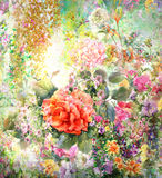 Abstract colorful flowers watercolor painting. Spring multicolored in  nature. Royalty Free Stock Photography