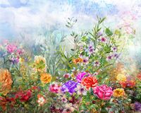 Abstract colorful flowers watercolor painting. Spring multicolored in  nature. Stock Images