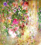 Abstract colorful flowers watercolor painting. Spring multicolored. Stock Photos