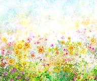 Abstract colorful flowers watercolor painting. Spring. Multicolored in Royalty Free Stock Image