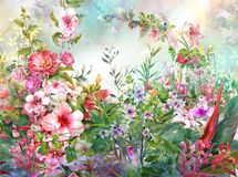 Abstract colorful flowers watercolor painting. Spring multicolored. In nature Royalty Free Stock Image
