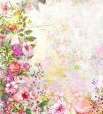 Abstract colorful flowers watercolor painting. Spring multicolored. In nature stock illustration