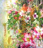 Abstract colorful flowers watercolor painting. Spring multicolored. In nnature Stock Images