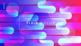 Ultraviolet Pop Art Fluid Color and Minimal World. Ultraviolet Abstract Colorful Fluid dynamic floating bubbles shapes, gradient reflection, hipster style Royalty Free Stock Photography