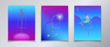 Surreal Pop Art Fluid Color and Minimal World. Ultraviolet Abstract Colorful Fluid dynamic floating bubbles shapes, gradient reflection, hipster style POSTERS Stock Photos