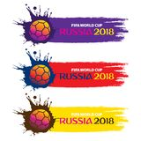 Creative football banner design. Abstract colorful football world cup banner design, by brush stroke Royalty Free Stock Photography