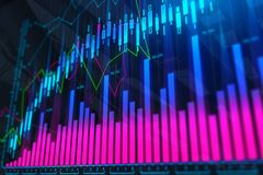 Abstract colorful forex background. Finance, analysis, future and stock concept. 3D Rendering Royalty Free Stock Photography