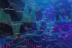 Finance and trade texture. Abstract colorful forex chart texture. Finance and trade concept. 3D Rendering Stock Photography