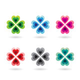 Abstract Colorful Four Leaf Clovers. Vector Illustration of Abstract Heart Shaped Four Leaf Clover isolated on a white background Royalty Free Stock Photo