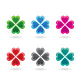 Abstract Colorful Four Leaf Clovers Stock Photography