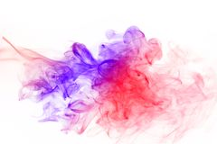 Abstract colorful fume waves over the white background. Stock Photo